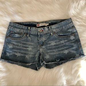 LEVIS Shorty short star print raw hem jean shorts
